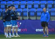 29 December 2020; Senior coach Stuart Lancaster, right, in conversation with players, from left, Ed Byrne, Jack Conan and Dan Leavy during Leinster Rugby squad training at Energia Park in Dublin. Photo by Ramsey Cardy/Sportsfile