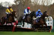 29 December 2020; Millen To One, centre, with Jack Kennedy up, jumps the last alongside eventual second and third place Slige Dala, left, with JJ Slevin up, and Jacksons Gold, with Ian Power up, on their way to winning the Irish Stallion Farms EBF Novice Handicap Hurdle on day four of the Leopardstown Christmas Festival at Leopardstown Racecourse in Dublin. Photo by Seb Daly/Sportsfile