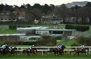 29 December 2020; A view of the field, including eventual winner Hollow Games, right, with Jamie Codd up, during the Irish Injured Jockeys Flat Race on day four of the Leopardstown Christmas Festival at Leopardstown Racecourse in Dublin. Photo by Seb Daly/Sportsfile