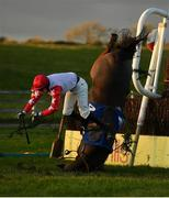 1 January 2021; Tongie and jockey Richard Condon up fall at the last during the Tom Carroll Memorial Handicap Steeplechase at Tramore Racecourse in Waterford. Photo by Seb Daly/Sportsfile