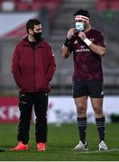2 January 2021; Munster head coach Johann van Graan speaks to captain Billy Holland prior to the Guinness PRO14 match between Ulster and Munster at Kingspan Stadium in Belfast. Photo by David Fitzgerald/Sportsfile