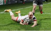 2 January 2021; Matt Faddes of Ulster scores his side's first try during the Guinness PRO14 match between Ulster and Munster at Kingspan Stadium in Belfast. Photo by John Dickson/Sportsfile