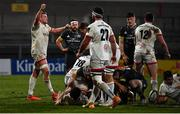 2 January 2021; Kieran Treadwell of Ulster celebrates a turnover during the Guinness PRO14 match between Ulster and Munster at Kingspan Stadium in Belfast. Photo by David Fitzgerald/Sportsfile
