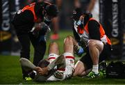 2 January 2021; Jacob Stockdale of Ulster is treated for an injury which he is subsequently substituted for during the Guinness PRO14 match between Ulster and Munster at Kingspan Stadium in Belfast. Photo by David Fitzgerald/Sportsfile