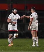 2 January 2021; Marcell Coetzee, left, fist bumps team-mate James Hume of Ulster after he comes on as a sub during the Guinness PRO14 match between Ulster and Munster at Kingspan Stadium in Belfast. Photo by David Fitzgerald/Sportsfile