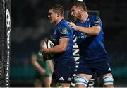 2 January 2021; Scott Penny of Leinster celebrates with team-mate Ross Molony after scoring their side's first try during the Guinness PRO14 match between Leinster and Connacht at the RDS Arena in Dublin. Photo by Brendan Moran/Sportsfile