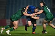 2 January 2021; Peter Dooley of Leinster is tackled by Denis Buckley, left, and Peter Sullivan of Connacht during the Guinness PRO14 match between Leinster and Connacht at the RDS Arena in Dublin. Photo by Piaras Ó Mídheach/Sportsfile