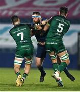 2 January 2021; Michael Bent of Leinster is tackled by Conor Oliver and Quinn Roux of Connacht during the Guinness PRO14 match between Leinster and Connacht at the RDS Arena in Dublin. Photo by Brendan Moran/Sportsfile