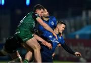 2 January 2021; Jonathan Sexton of Leinster, right, alongside team-mate Dave Kearney after he was tackled by Sean Masterson, left, and Peter Sullivan of Connacht during the Guinness PRO14 match between Leinster and Connacht at the RDS Arena in Dublin. Photo by Piaras Ó Mídheach/Sportsfile