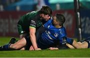2 January 2021; Jonathan Sexton of Leinster reacts after being tackled by Sean Masterson of Connacht during the Guinness PRO14 match between Leinster and Connacht at the RDS Arena in Dublin. Photo by Piaras Ó Mídheach/Sportsfile