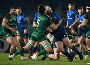 2 January 2021; Michael Bent of Leinster is tackled by Quinn Roux of Connacht during the Guinness PRO14 match between Leinster and Connacht at the RDS Arena in Dublin. Photo by Brendan Moran/Sportsfile