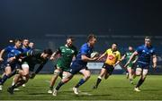 2 January 2021; David Hawkshaw of Leinster on his way to scoring his side's fourth try, which was subsequently disallowed, during the Guinness PRO14 match between Leinster and Connacht at the RDS Arena in Dublin. Photo by Ramsey Cardy/Sportsfile