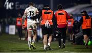 2 January 2021; Jacob Stockdale of Ulster is helped off the field due to an injury during the Guinness PRO14 match between Ulster and Munster at Kingspan Stadium in Belfast. Photo by David Fitzgerald/Sportsfile