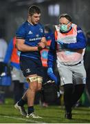 2 January 2021; Scott Penny of Leinster leaves th epitch with an injury accompanied by Leinster Head of Medical Dr. John Ryan during the Guinness PRO14 match between Leinster and Connacht at the RDS Arena in Dublin. Photo by Brendan Moran/Sportsfile