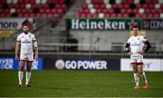 2 January 2021; Stuart McCloskey, left, and Billy Burns of Ulster during the Guinness PRO14 match between Ulster and Munster at Kingspan Stadium in Belfast. Photo by David Fitzgerald/Sportsfile