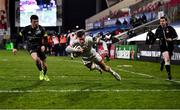 2 January 2021; Ethan McIlroy of Ulster scores his side's second try during the Guinness PRO14 match between Ulster and Munster at Kingspan Stadium in Belfast. Photo by David Fitzgerald/Sportsfile