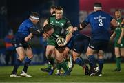 2 January 2021; Conor Kenny of Connacht is tackled by Sean Cronin, left, and Ed Byrne of Leinster during the Guinness PRO14 match between Leinster and Connacht at the RDS Arena in Dublin. Photo by Piaras Ó Mídheach/Sportsfile