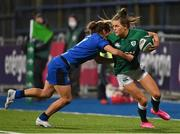 24 October 2020; Béibhinn Parsons of Ireland is tackled by Aura Muzzo of Italy during the Women's Six Nations Rugby Championship match between Ireland and Italy at Energia Park in Dublin. Due to current restrictions laid down by the Irish government to prevent the spread of coronavirus and to adhere to social distancing regulations, all sports events in Ireland are currently held behind closed doors. Photo by Brendan Moran/Sportsfile