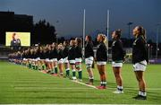 24 October 2020; The Ireland team stand for the national anthems prior to the Women's Six Nations Rugby Championship match between Ireland and Italy at Energia Park in Dublin. Due to current restrictions laid down by the Irish government to prevent the spread of coronavirus and to adhere to social distancing regulations, all sports events in Ireland are currently held behind closed doors. Photo by Brendan Moran/Sportsfile