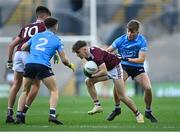 19 December 2020; Matthew Cooley of Galway, supported by team-mate Paul Kelly in action against Conor Tyrrell, 2, Adam Fearon of Dublin during the EirGrid GAA Football All-Ireland Under 20 Championship Final match between Dublin and Galway at Croke Park in Dublin. Photo by Piaras Ó Mídheach/Sportsfile