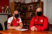 7 January 2021; New St Patrick's Athletic signing John Mountney, left, and manager Stephen O'Donnell pictured at Richmond Park in Dublin. Photo by Seb Daly/Sportsfile
