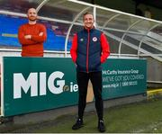 7 January 2021; New St Patrick's Athletic signing John Mountney, right, and manager Stephen O'Donnell pictured at Richmond Park in Dublin. Photo by Seb Daly/Sportsfile