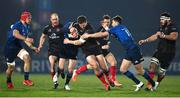 8 January 2021; Stuart McCloskey of Ulster is tackled by Jonathan Sexton, left, and Ross Byrne of Leinster during the Guinness PRO14 match between Leinster and Ulster at the RDS Arena in Dublin. Photo by Brendan Moran/Sportsfile