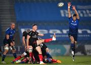 8 January 2021; John Cooney of Ulster kicks under pressure from Ross Byrne of Leinster during the Guinness PRO14 match between Leinster and Ulster at the RDS Arena in Dublin. Photo by Seb Daly/Sportsfile