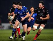 8 January 2021; Ross Byrne of Leinster in action against Greg Jones and Alan O'Connor of Ulster during the Guinness PRO14 match between Leinster and Ulster at the RDS Arena in Dublin. Photo by Seb Daly/Sportsfile