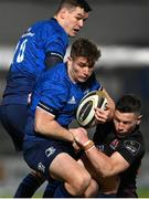 8 January 2021; Jordan Larmour of Leinster is tackled by John Cooney of Ulster during the Guinness PRO14 match between Leinster and Ulster at the RDS Arena in Dublin. Photo by Ramsey Cardy/Sportsfile