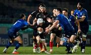 8 January 2021; Michael Lowry of Ulster is tackled by Jamison Gibson-Park, left, and James Ryan of Leinster during the Guinness PRO14 match between Leinster and Ulster at the RDS Arena in Dublin. Photo by Brendan Moran/Sportsfile