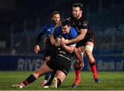 8 January 2021; James Ryan of Leinster  is tackled by Tom O'Toole, left, and Alan O'Connor of Ulster during the Guinness PRO14 match between Leinster and Ulster at the RDS Arena in Dublin. Photo by Seb Daly/Sportsfile