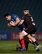 8 January 2021; Hugo Keenan of Leinster is tackled by Rob Herring, right, and John Cooney of Ulster during the Guinness PRO14 match between Leinster and Ulster at the RDS Arena in Dublin. Photo by Ramsey Cardy/Sportsfile