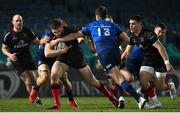 8 January 2021; Stuart McCloskey of Ulster is tackled by Josh van der Flier and Ross Byrne of Leinster during the Guinness PRO14 match between Leinster and Ulster at the RDS Arena in Dublin. Photo by Brendan Moran/Sportsfile
