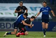 8 January 2021; Billy Burns of Ulster is tackled by Hugo Keenan of Leinster during the Guinness PRO14 match between Leinster and Ulster at the RDS Arena in Dublin. Photo by Ramsey Cardy/Sportsfile