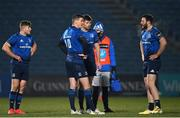 8 January 2021; Leinster players, from left, Jordan Larmour, Jonathan Sexton, Ross Byrne and Robbie Henshaw during the Guinness PRO14 match between Leinster and Ulster at the RDS Arena in Dublin. Photo by Ramsey Cardy/Sportsfile