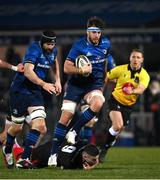 8 January 2021; Caelan Doris of Leinster evades the challenge of John Cooney of Ulster during the Guinness PRO14 match between Leinster and Ulster at the RDS Arena in Dublin. Photo by Ramsey Cardy/Sportsfile