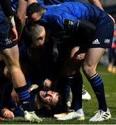 8 January 2021; Robbie Henshaw of Leinster celebrates with Jonathan Sexton after scoring his side's second try during the Guinness PRO14 match between Leinster and Ulster at the RDS Arena in Dublin. Photo by Brendan Moran/Sportsfile