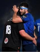 8 January 2021; Caelan Doris of Leinster and Tom O'Toole of Ulster embrace following the Guinness PRO14 match between Leinster and Ulster at the RDS Arena in Dublin. Photo by Seb Daly/Sportsfile