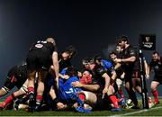 8 January 2021; Leinster players go over to score their sides second try scored by Seán Cronin of Leinster during the Guinness PRO14 match between Leinster and Ulster at the RDS Arena in Dublin. Photo by Brendan Moran/Sportsfile