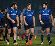 8 January 2021; Leinster players, from left, Robbie Henshaw, Jordan Larmour and Ross Byrne following the Guinness PRO14 match between Leinster and Ulster at the RDS Arena in Dublin. Photo by Brendan Moran/Sportsfile