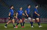 8 January 2021; Leinster players, from left, Andrew Porter, Jordan Larmour, James Ryan and Caelan Doris during the Guinness PRO14 match between Leinster and Ulster at the RDS Arena in Dublin. Photo by Seb Daly/Sportsfile