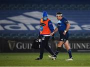 8 January 2021; Seán Cronin of Leinster leaves the field with team doctor Prof. Jim McShane during the Guinness PRO14 match between Leinster and Ulster at the RDS Arena in Dublin. Photo by Seb Daly/Sportsfile