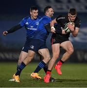 8 January 2021; Ben Moxham of Ulster is tackled by Dave Kearney of Leinster during the Guinness PRO14 match between Leinster and Ulster at the RDS Arena in Dublin. Photo by Seb Daly/Sportsfile