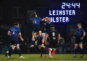 8 January 2021; Hugo Keenan of Leinster and Michael Lowry of Ulster challenge for a high ball during the Guinness PRO14 match between Leinster and Ulster at the RDS Arena in Dublin. Photo by Seb Daly/Sportsfile