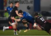 8 January 2021; Robbie Henshaw of Leinster is tackled by James Hume, left, and Stuart McCloskey of Ulster during the Guinness PRO14 match between Leinster and Ulster at the RDS Arena in Dublin. Photo by Ramsey Cardy/Sportsfile