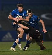 8 January 2021; Hugo Keenan of Leinster is tackled by Jordi Murphy of Ulster during the Guinness PRO14 match between Leinster and Ulster at the RDS Arena in Dublin. Photo by Ramsey Cardy/Sportsfile
