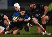 8 January 2021; Jamison Gibson-Park of Leinster is tackled by Michael Lowry of Ulster during the Guinness PRO14 match between Leinster and Ulster at the RDS Arena in Dublin. Photo by Ramsey Cardy/Sportsfile