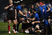 8 January 2021; James Tracy of Leinster celebrates after scoring his side's fourth try with team-mates, from left, Harry Byrne, Robbie Henshaw and Dave Kearney during the Guinness PRO14 match between Leinster and Ulster at the RDS Arena in Dublin. Photo by Brendan Moran/Sportsfile