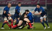 8 January 2021; Robbie Henshaw of Leinster is tackled by Greg Jones and Stuart McCloskey of Ulster during the Guinness PRO14 match between Leinster and Ulster at the RDS Arena in Dublin. Photo by Brendan Moran/Sportsfile